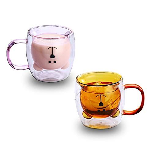 Doppelwandige Tasse aus Glas mit Bären-Motiv, Kaffeebecher, Milchglas, Bierbecher, Valentinstagsgeschenk, Geburtstagsgeschenk für Sie