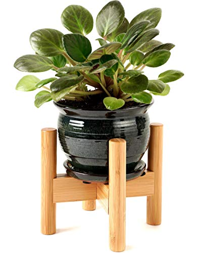 Mini Plant Stands for Indoor Plants – Best for 5 and 6 Inches Small Pots, Planters and Vases – Ideal for Table Top Plant Decorations - Bamboo Wood