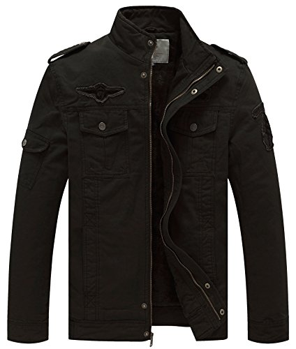 WenVen Men's Winter Military Style Air Force Jacket (Black,S)