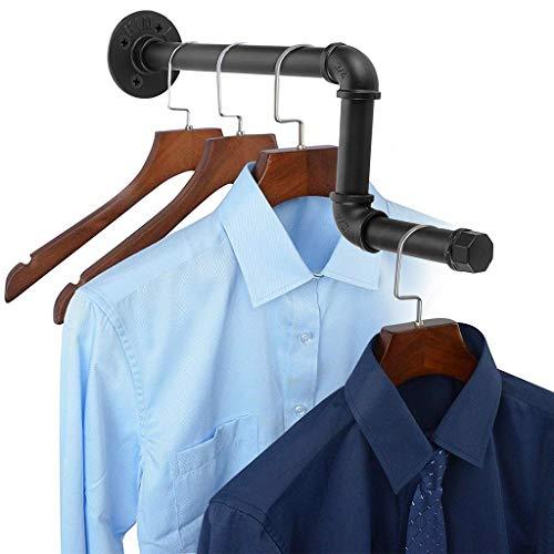 SUMNACON Montado en la pared tubo industrial para colgar ropa de hierro rústico soporte de ropa rack de almacenamiento de ropa, barra de toallero para tienda, vivir, armario tipo Z