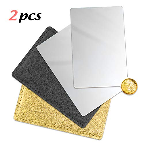 IBEET 2Pack Unbreakable Stainless Steel Makeup Mirrors,Vanity Mirror small for Purse Handbag Travel, Cosmetic Rectangular Handheld Compact Pocket Mirror Tiny Wallet Mirror Plate for Makeup, Black&Gold