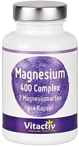 MAGNESIUM 400 mg Complex, hochwertige, natürliche Magnesium-Kombination aus drei (!!!) verschiedenen Magnesium-Arten, inkl. organischem Magnesiumcitrat, hochdosiert, 120 Kapseln direkt für 2 Monate