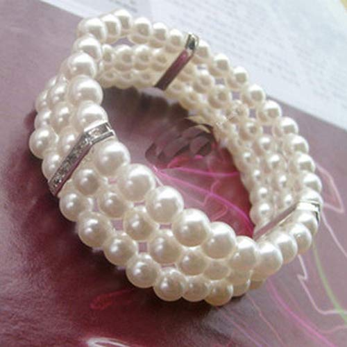 Uticon Bracelets, Fashion 3 Rows Faux Pearl Rhinestone Decor Elastic Stretchy Bangle Bracelet