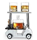 Carafe à verre à vin Golf Decanter Whisky Decanter et Verres de whisky - The Wine Savant, cadeaux de golf pour hommes et femmes, basé sur un charret de golf réplique en bois, version de printemps 2020