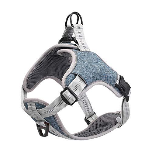 BELPRO Dog Harness No Pull, Reflective Vest Harness with 2 Metal Leash Hooks,Adjustable Soft Padded Pet Vest for Small Medium Large Dog (S, Blue)