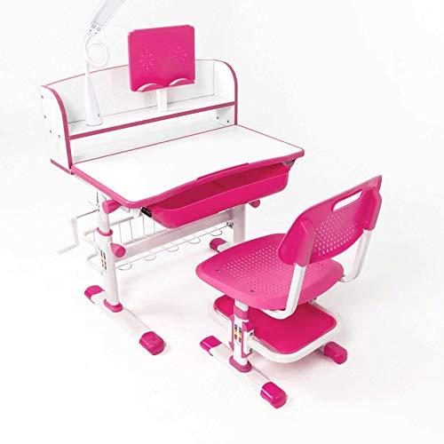 Desk Sets Mesa de Escritorio y Silla con Altura Regulable Pupitre Infantil con Cajón, Mesa de Escritorio Infantil Ergonómica, Lámpara LED, Rosado, Azul