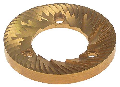 Set maalschijven voor koffiemolen ø 74 mm draairichting rechtsdraaiend hoogte 9 mm tandafstand 3,8 mm gat ø 6 mm binnen ø 37,7 mm