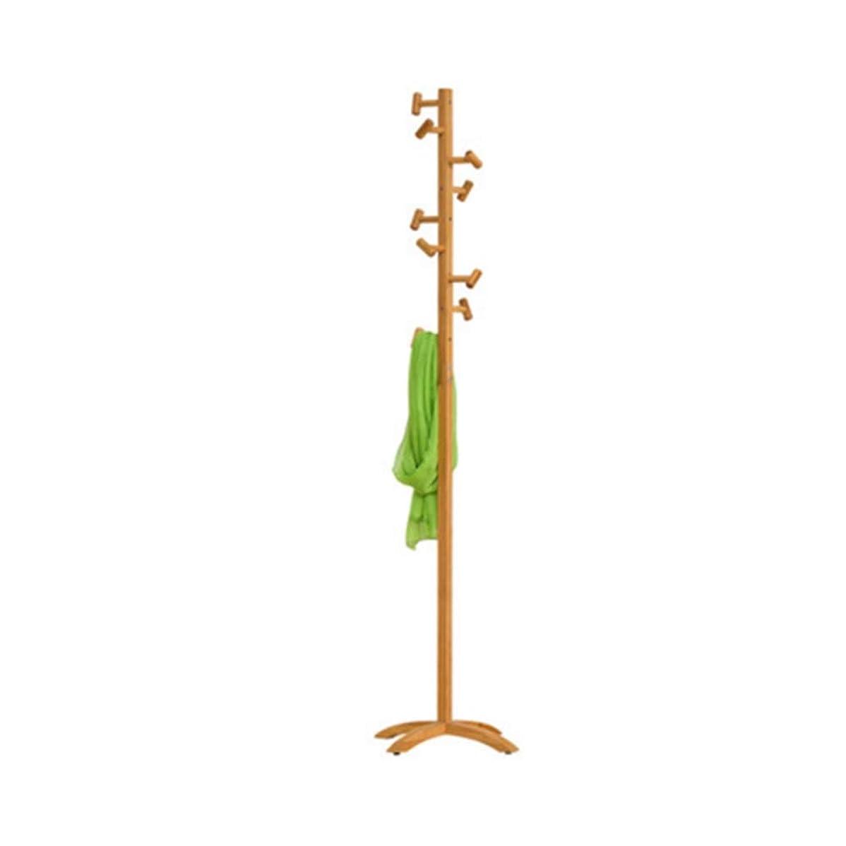 新聞地区方向コートラック 175センチ木製コートラックスタンド9フック服スタンドツリースタイリッシュな木製ハットコートスタンドラック服ジャケット収納ハンガーオーガナイザー (色 : Primary color, サイズ : Hammer)
