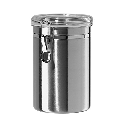 Airtight Canisters for the Kitchen Stainless Steel - Beautiful for Kitchen Counter, Small 32oz, Food Storage Container, Tea Coffee Sugar Canisters by SilverOnyx - Small 32oz - 1 Piece