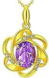 Collar Collar de moda Moneda europea Joyas de oro Amatista púrpura...