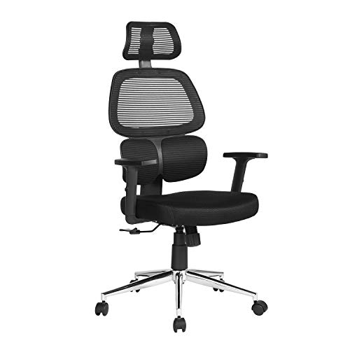 Homy Casa High Back Swivel Executive Office Chairs, 6464122.5-132.5cm, black mesh chromed feet