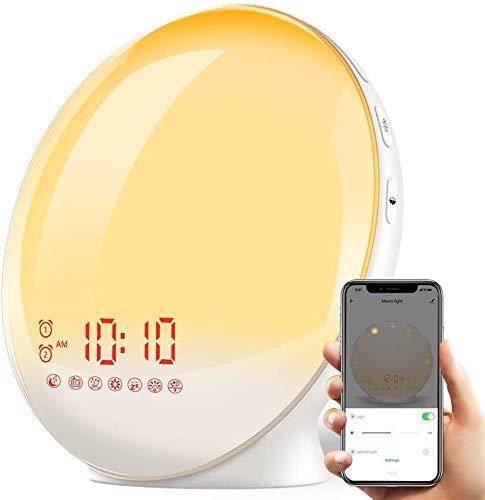 TITIROBA Lichtwecker App Kontrolle Wake Up Licht Sonnenauf-untergang Simulation Wecker Licht kompatibel mit Alexa&Google Home 20 Helligkeit regelbar FM-Radiowecker mit 7 Wecktöne für Erwachsene&Kinder