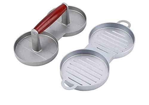 Malcolm Küchenform Burger Pressform, Antihaft-Doppel-Burger Pressform aus Aluminiumlegierung Hamburger Fleisch Rindfleisch Küchengeräte mit Holzgriff für Rindfleisch