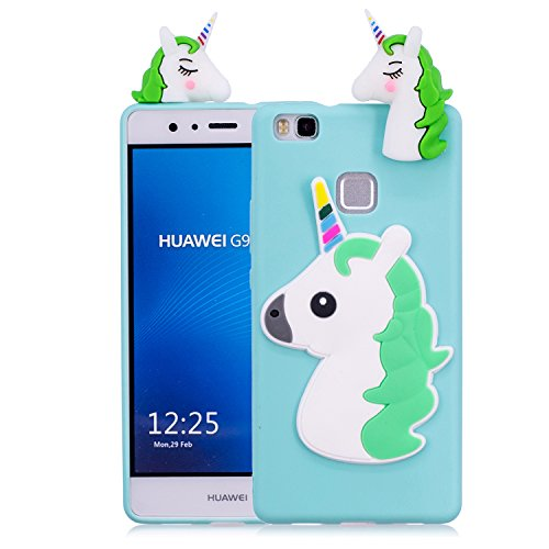 Funluna Funda Huawei P9 Lite, 3D Unicornio Silicona Dibujo Animado Suave Case Cover Protección Cáscara Soft Gel TPU Carcasa para Huawei P9 Lite, Azul Claro