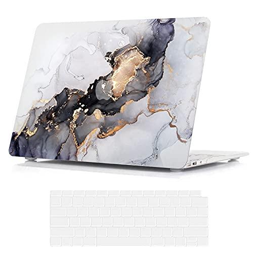 BELK Hülle Kompatibel mit MacBook Air 13 Zoll 2020 2019 2018 mit Retina Display & Touch ID A2337 M1 A2179 A1932, Ultra Dünn Plastik Druck Muster Hartschale Schutzhülle Case & Tastaturschutz, Flow Gold