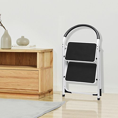 Delxo 2 Step Stool Folding Step Stool Steel Stepladders with Handgrip Anti-Slip Sturdy and Wide Pedal Steel Ladder 300lbs White and Black Combo 2-Feet (WK2061A-2) (2 Step Stool)