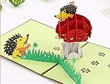 BC Worldwide Ltd Tarjeta emergente hecha a mano 3D erizo pareja seta guitarra amor corazón cumpleaños, Día de San Valentín, boda de papel artesanal de aniversario regalo para él o ella