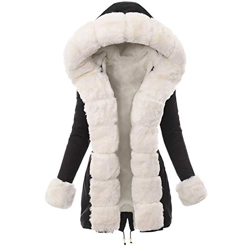 FIRSS Damen Winterjacke, Freizeit Outdoor Winterparka, Bequem Weich Windcoat, Casual Langarm Pelzkragen Coat, Woman Sweatshirt Mantel, Atmungsaktiv Komfortable Winter Jacke