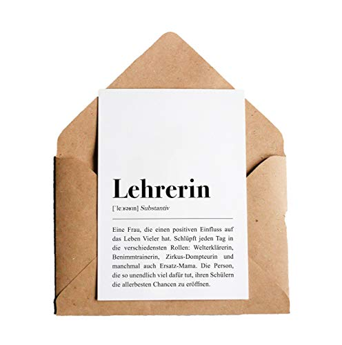 Definition Lehrerin: Grußkarte mit Umschlag