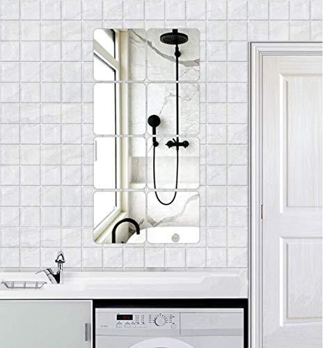 HKTOPONE 8PCS Adesivi murali per piastrelle a specchio quadrato 20 X 20 cm Materiale PMMA Adesivo 3D Mosaico Decorazione della stanza di casa Fai da te