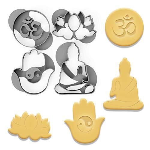 3DREAMS Keksausstecher Set Yoga Buddha Lotus Blüte 4 Ausstecher Ausstechformen Buddismus Nerd Geschenk