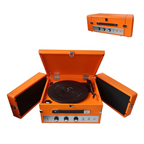 Pyle Bluetooth Suitcase Record Player - Updated Version Portable W/ 3-Speed Turntable with Radio, Aux-in, and Bluetooth, Vintage Retro Classic Style, Vinyl-to-MP3 Recording (Orange) - PLTT82BTOR