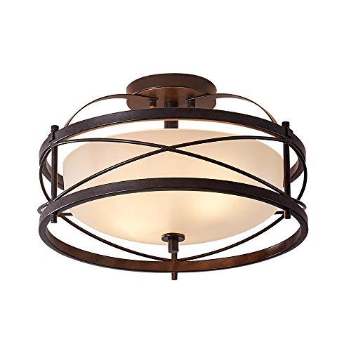 LHLYCLX Entryway Drum Light Fixtures, Semi-Flush Mount Rustic Ceiling Light for Hallway Living Room Bedroom Kitchen, Old Bronze Finished (Brown)