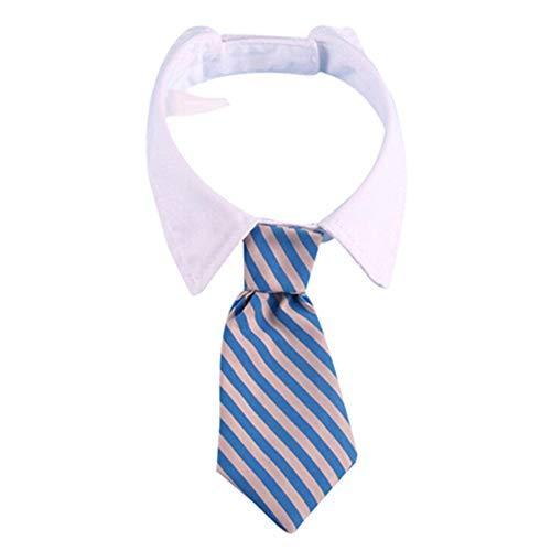 XdiseD9Xsmao verstelbare stropdas, gestreepte poetskraag hals bowtie dog puppy party SNone Blauwe grijze strepen.
