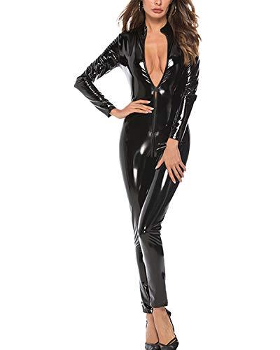 DULEE Damen Wetlook Faux Leder Zipper Ganzanzug Kostüm Nachtclub Clubwear Tanzen Bodysuit Jumpsuit Erotik Baby Dolls Dessous,Black S