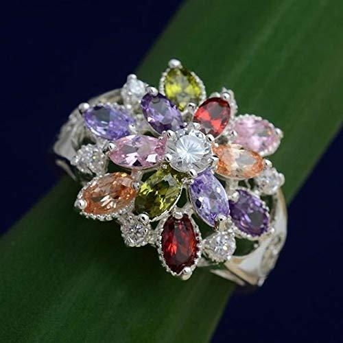 CHCO Joyería de Moda para Mujer Anillo de aleación de Cristal púrpura Dulce Multicolor Compromiso Nupcial Joyería de Boda Tamaño 12