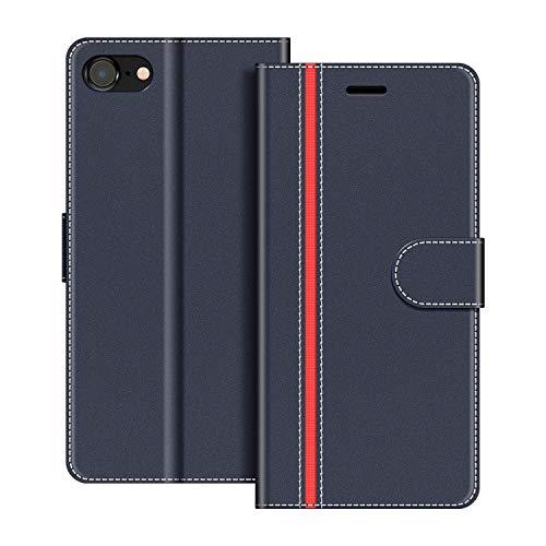 COODIO Funda iPhone SE 2020 con Tapa, Funda Movil iPhone 8, Funda Libro iPhone 7 Carcasa Magnético Funda para iPhone SE 2020 / iPhone 8 / iPhone 7, Azul Oscuro/Rojo