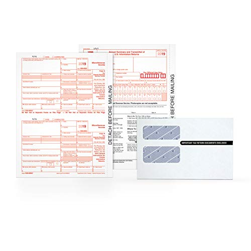 Adams 1099 MISC Forms 2019, 5 Part Tax Forms Kit, 50 Recipients Kit of Laser/Inkjet Forms, 3 1096 Summary Forms, 50 Self Seal Envelopes (TXA2250E)