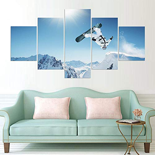 WWMJBH Canvas Wall Art 200X100 cm Poster Stand Woonkamer High Definition Print 5 Stuks Snowboard Sneeuw Mountain Modern Wall Art Picture Home Decoratie, Panelen - Wall Art Print - Afbeelding Bedrukt - Art