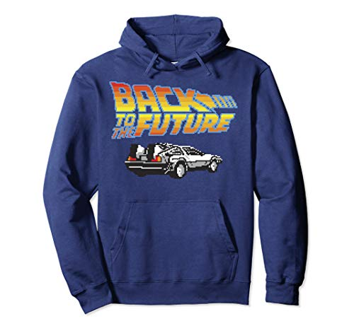 Official Unisex Back To The Future 8-Bit Delorean Logo Hoodie, 4 Colors, S to 2XL