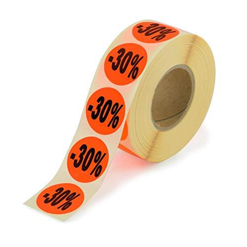 2000 etiquetas de acción – 30% redondo rojo brillante en rollo de 32 mm – Precio especial reducido, autoadhesivas, etiquetas de precios permanentes [H-30]