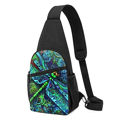 Sling Bag for Women Anti-Theft Shoulder Backpack Dragonfly Insects Indian Mandala Chest Bags Adjustable Cross Body Lightweight Daypack Travel & Hiking