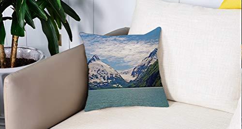 Luoquan Kissenbezüge Super Weich Home Dekoration,Lake Decor, Berg und See in Anchorage Alaska Frühling Sonnentag Scenic View P,Kopfkissenbezug Pillowcase Kissen für Wohnzimmer Sofa Bed,45x45cm