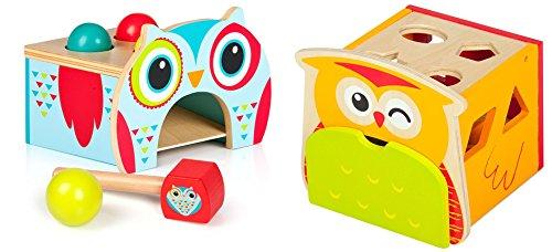 2in1 Le Hibou Intelligent, Ensemble de Jouets éducatifs en Bois: Banc à Marteler Boîte À Frapper + Cube de tri de Formes / Boîte à Formes en Bois