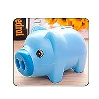 貯金箱 コイン貯金箱キッズギフト保存現金ポータブルホームデコレーションかわいい漫画の動物のプラスチック製の貯金箱子供 贈り物 (Color : Blue)