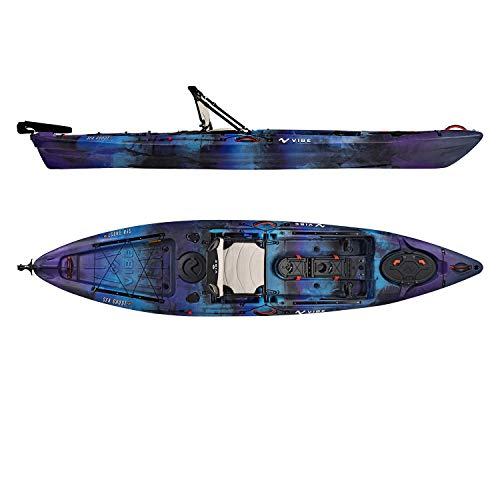 Vibe Kayaks Sea Ghost 130 13 Foot Angler Sit On Top Fishing Kayak (Galaxy) with Adjustable Hero Comfort Seat