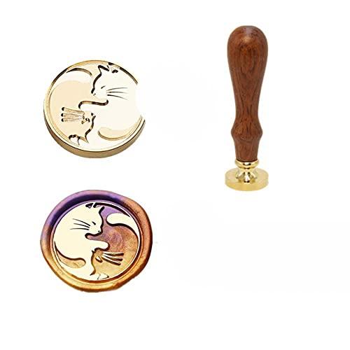 Sello de cera de invitación sellos DIY lindo animal ciervo patrón de sellado para scrapbooking Craft mango de madera antiguo cobre Dropship-MH1, España