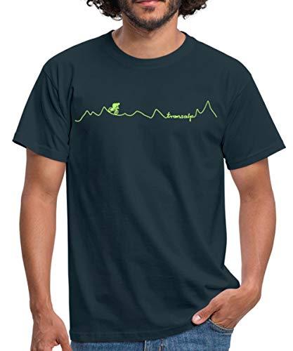 Mountainbike Alpencross Fahrrad Transalp Männer T-Shirt, M, Navy