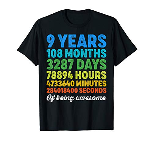 9 Years Old Gifts 9th Birthday Shirt Vintage Retro Countdown T-Shirt