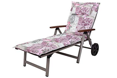 Kettler Polen KETTtex 0798 Auflage Rollliege Rom 0798 rosa-grau Blumen Landhaus 195x60x9 cm (ohne Liege)