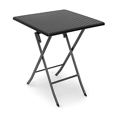 Relaxdays BASTIAN Square Patio Table Folding Table 74 x 61.5 x 61.5 cm, Folding Table for Backyard, Balcony or Porch with Metal Frame, Rattan Look Side Table or Camping Table, Black