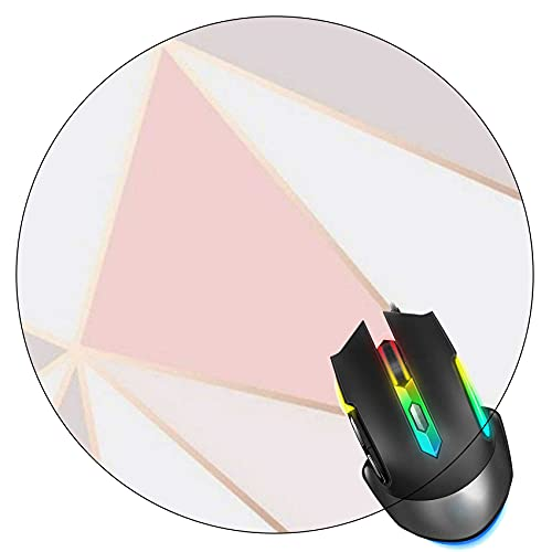 Pink Gold Geometric Shapes Mouse Pad, Gaming Mouse Mat, Non-Slip Rubber Base Round Mousepad for Office Home Computer,7.9 inch