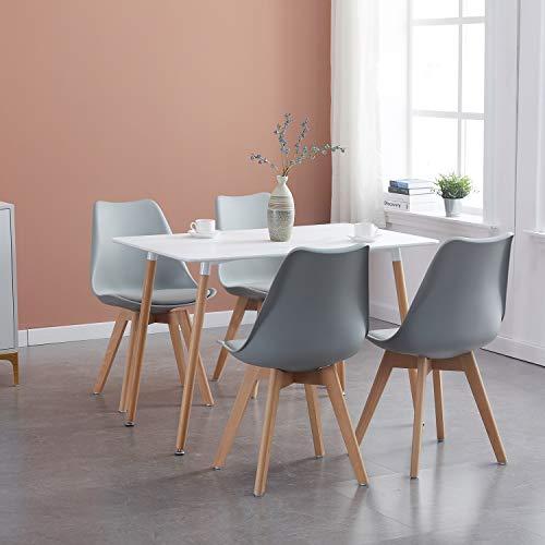 IPOTIUS Tavolo da Pranzo con 4 Sedie Moderno Set Sala da Pranzo, Tavolo Rettangolare e Sedie da Cucina Grigio