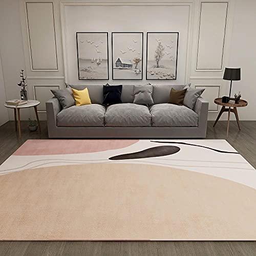 Alfombras Salon Modernas Grande Alfombra Lavable Antideslizante Pelo Corto para Habitacion Pasillo Sala Comedór Dormitorio 160x230cm Rosa Claro Abstracto Moderno