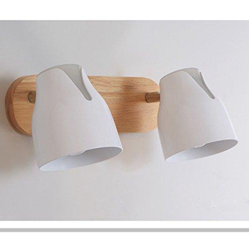 Nordic creatieve houten kunst nachtkastje leeslamp E27 wandlamp Moderne minimalistische schakelaar en roterende badkamerlens licht (wit)
