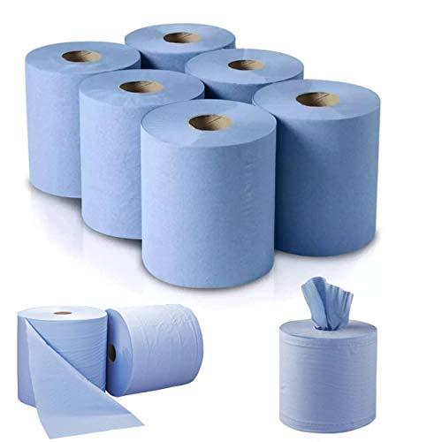 Centre Feed - Rollos azules de papel reciclado, toallas de mano de alta calidad, multiusos, uso doméstico profesional, 2 capas, 110 metros (6 rollos)